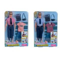Кукла с нарядом DEFA 8385  Кен, фотоаппарат, ноутбук, 2вида, в слюде, 23-33-6см