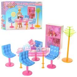 Мебель 2912 столовая, стол, стулья 4шт, торшер, шкаф, посуда, в кор-ке, 27-20-7см