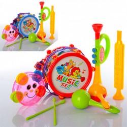 Музыкальные инструменты 2019A барабан16см,дудка2шт,маракасы,2цвета, в кульке,25-30-10см