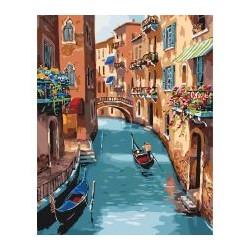 """Набір для розпису по номерах. Міський пейзаж """"Сонячна Венеція"""" 40*50см"""