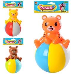 Неваляшка 6526-B-С 13см, 2вида(мишка, тигр), звук, в кульке, 15-20-8см