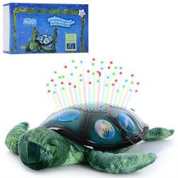 Ночник YJ 3 черепаха(плюш+пласт),35см,проект ночн неба,3 реж, на бат-ке, в кор-ке, 35-21-11см