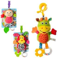Подвеска на коляску 81517-18-20 плюш,погрем,пищалка,прорез,3 вида,на листе,в кульке,16-21-5см