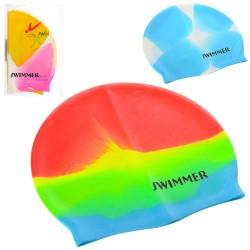 Шапочка для плавания MSW 016 (21,5-18,5см, 3 цвета, в кульке, 20,5-13см