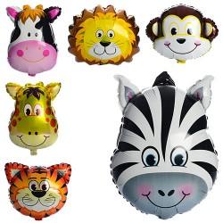 Шарики надувные фольгированные MK 1332 животные, 60-45см, 6видов