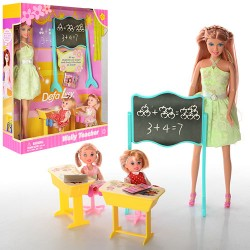 Кукла DEFA 6065  28см, школа, 2 детей 10см, доска, парта 2шт, стул 2шт, в кор-ке, 27-33-8см