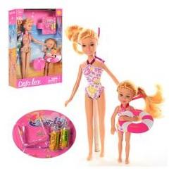 Кукла DEFA 8278 21,5см, с сестричкой 13см, аксессуары, 2 вида, в кор-ке, 18-25,5-5см