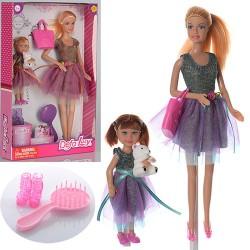 Кукла DEFA 8304  29см,с дочкой 13см,сумка,расческа, туфли,мишка,2 вида,в кор-ке,20,5-32-5см