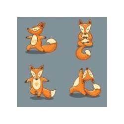 """Набір для розпису по номерах. Поліптих """"Yoga-fox"""" 4шт 18*18"""