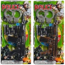 Набор полицейского 88001-02  автомат-трещотка,бинокль,наручники,2вида,на листе,20-43-3см
