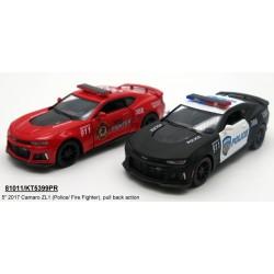 "Модель легковая KT5399WPR 5"" 2017 Camaro ZL1 (Police/FireFighter) метал.инерц.откр.дв.кор."