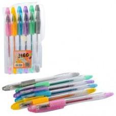 Ручка MK 3160 цветн,гелевая, глиттер, 6шт, в кульке,8,5-15-1,5см