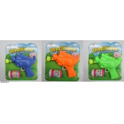 Мыльные пузыри пистолет 6112A динозавр 3цв.лист 22*5,5*19