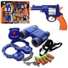 Набор полицейского 648P  пистолет,пули(пластик/резин),бинокль,наручники,в кор-ке,39-27,5-5,5см