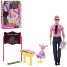 Кукла DEFA 8368 (Кен, 31см, дочка 10см, парта, доска, мелки 2шт, 2вида, в кор-ке,24-33-5,5см