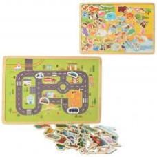 Деревянная игрушка Досточка MD 2055 магнитная,2вида(животные,транспорт),в кульке,29,5-21-5см