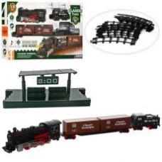 Железна дорога  814-1  74-74см, локомотив- звук, свет, вагон 2шт, 16дет, на бат-ке, в кор-ке