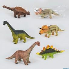 Динозавры музыкальные 44407 / Х001-2-5-6-16-44 ( 5 видов, мягкие, резиновые, 52 см, 1шт в кульк