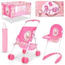 Набор игровой D-98282  HK,для куклы,коляска-прогул,стульч.для кормл,манеж-в чехл,кор,63-34-10см