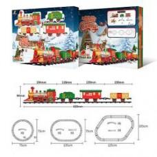 Железная дорога 1603B-4C  локомотив20см, вагон3шт, звук, свет, на бат-ке, в кор-ке, 41-31,5-