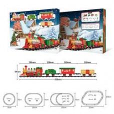 Железная дорога1603B-1A  локомотив20см, вагон3шт, звук, свет, на бат-ке, в кор-ке, 54-38,5-7см