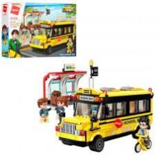 Конструктор Qman 1136  город, школьный автобус, фигурки, 440дет, в кор-ке,41-29,5-6,5см
