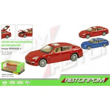 """Машина металл 68245A """"АВТОПРОМ"""",1:24 """"Porsche Panamera S"""" 2 цвета, батар.,свет,звук,откр.д"""