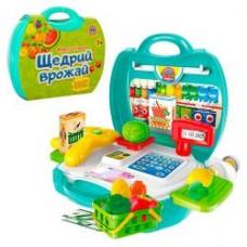 Магазин 8314 касса. продукты, корзинка, 23 предмета, в чемодане, 22-22-10см