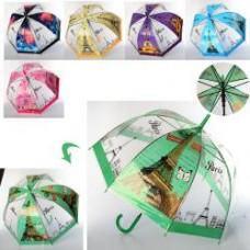 Зонтик детский MK 3617-1 длина83см,трость66см,диам79см,спица58см,клеенка,рисун,6вид(города)