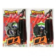 Набор с оружием 551-3-4 пистолет19см,пули-присос3шт,2в(наручники/мишень),на листе, 17-28-3см