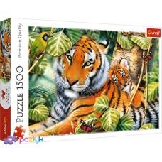 "Пазли - (1500 елм.) - ""Два тигри"" / Trefl"