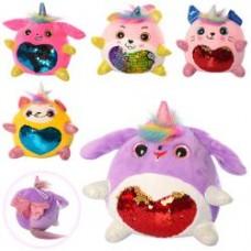 Мягкая игрушка MP 2121  животное/единорог, 15см, присоска, пайетки (сердце), микс цветов