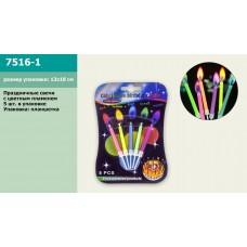 Свечки для праздника 7516-1 4 цвета, на планш.13*18см