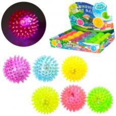 Мяч массажный MS 1137-1 (6,5см, св, пищалка, на бат(таб),24шт(6цветов,) в дисплее,38.5-26-6см