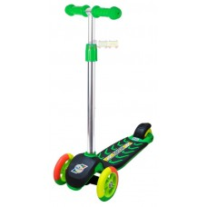 Самокат Зеленый цветные колеса