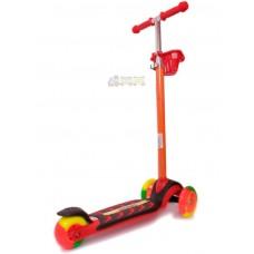 Самокат Красный цветные колеса