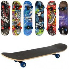 Скейт MS 0322-3 78-19,5см,пласт.подвеска,колесаПВХ,7слоев,6видов,608Z,макс.нагр.45кг,разобр,