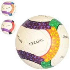 Мяч футбольный 2500-143 размер 5, ПУ1,4мм, ручная работа, 32панели, 410-430г, 3цвета(страны)