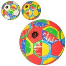 Мяч футбольный 2500-168 размер 5, ПУ1,4мм,ручная работа,32панели, 400-420г, 3цвета,кулек