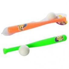Бита M 2684 бейсбольная, 40см, мячик 6см, 2 цвета, в сетке, 46-6-6см