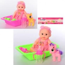 Пупс DW686C 14см, ванна, лошадка, бутылочка,2цвета, в кульке, 15,5-24-5см
