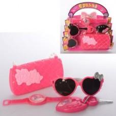 Набор аксессуаров HC120D-199D (72шт) сумка, очки, часы, ключи, 2цвета, на листе,25-24-5см