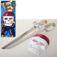 Набор пирата 49478A-B меч 2шт, 47см, маска, 2вида, на листе, 19-50-6см