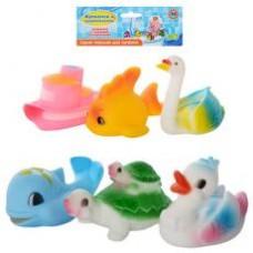 Пищалка 3001-6 P ( 6шт (кораблик,рыбка,дельфин,утка,лебедь,черепаха), в кульке,21,5-26-6см