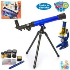 Микроскоп SK 0014 (18шт) 19,5-11-7см,телескоп 43,5-13-5,5см,стекла6шт,пробирки,в кор-ке, 44-39-8см