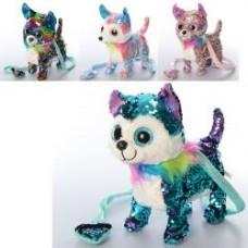 Мягкая игрушка MP 2137 (12шт) д/у, собака26см, глазастик, пайетки, муз, 4цв,бат,в кульке, 27-25-11см