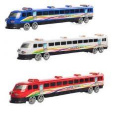 Поезд 3399 (192шт) инер-й, на колесиках, 3 цвета, в кульке, 36-6-4см