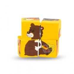 Набор мягких кубиков.Собери картинку.Дикие животные (4шт)