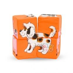 Набор мягких кубиков.Собери картинку.Дом.животные(4шт)