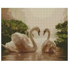 """Набір з алмазною мозаїкою """"Пара лебедів"""" 40*50 см"""